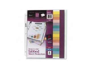 Protect 'n Tab Top Load Clear Sheet Protectors w/Eight Tabs, Letter