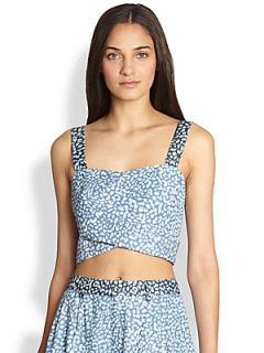Line & Dot Leopard Print Denim Cropped Top   Indigo Mini Leopard